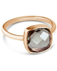 Lily Blanche - Green Amethyst Cocktail Ring In Rose Gold - Lyst