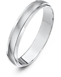 Star Wedding Rings Palladium D Shape Matt Center Wedding Ring (available In Various Widths) - Black