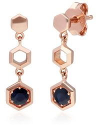 Gemondo Jewellery 9kt Rose Gold Honeycomb Inspired Sapphire Drop Earrings - Multicolor