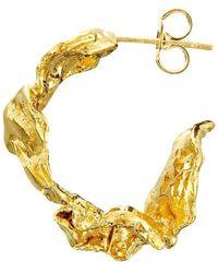 Joseph Lamsin Jewellery Rippled Wide Hoop Gold Vermeil Earrings - Metallic