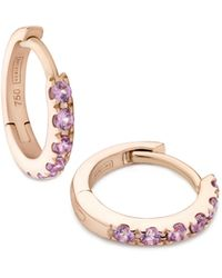 Verifine London 18kt Rose Gold & Pink Sapphire Huggie Earrings - Multicolor
