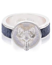 Alexa K - Silver Plated Brass Small Wolf Ring With Leather - Lyst