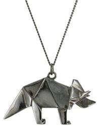 Origami Jewellery - Titanium Black Silver Triceratops Necklace - Lyst