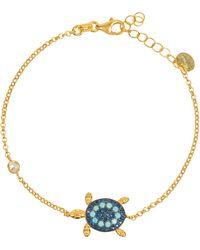 LÁTELITA London Yellow Gold Plated Turtle Turquoise Bracelet - Blue