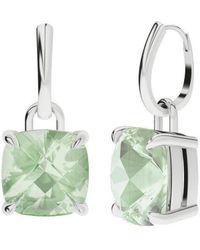 StyleRocks Green Amethyst 9kt White Gold Drop Earrings - Metallic