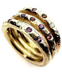 Will Bishop - Gold Vermeil, Amethyst & Cubic Zirconia Three Band Ring - Lyst
