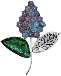 Kimili Sterling Silver Lilac Flower Brooch With Cloisonné Enamel - Multicolour