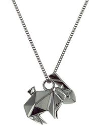 Origami Jewellery Black Silver Mini Lion Origami Necklace GVTojOIvIp