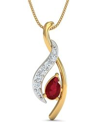 Diamoire Jewels - Premium Quality Diamonds And Ruby Pendant Nature Inspired In 14kt Yellow Gold - Lyst