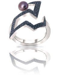 Cristina Cipolli Jewellery Sterling Silver Snaketric Edgy Black Diamond Ring - Metallic