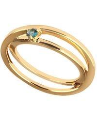 Carolin Stone Jewelry 14kt Yellow Gold Plated Sterling Silver Blue Topaz Self-love Ring - Uk I - Us 4.5 - Eu 48 - Metallic