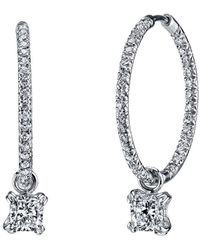 Harry Kotlar - Pave Hoops With Cushion Cut Diamond Drops - Lyst