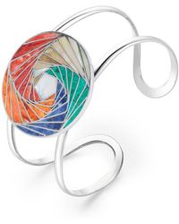 SOLUNA Sterling Silver Mosaic Modern Spiral Cuff - Metallic