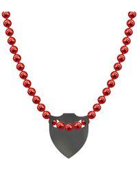 Allumer Made In Britain Necklace - Black Rhodium Plated Spiked Shield - Metallic