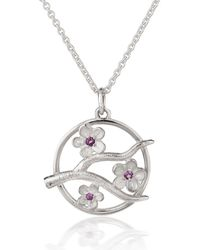 Fiona Kerr Jewellery Silver Cherry Blossom Pendant With Garnets - Pink
