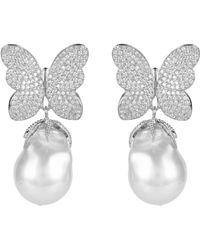 LÁTELITA London White Butterfly Baroque Pearl Earring Silver - Metallic