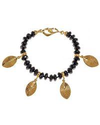 Hissia - Melanite Garnet Bracelet With Gold Shields Charms - Lyst