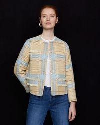 Jigsaw Check Tweed Jacket - Blue