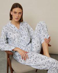 Jigsaw Peony Print Pyjamas - Blue