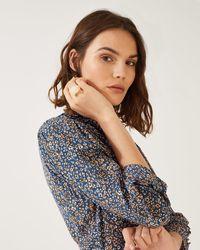 Jigsaw Leopard Print Ruffle Shirt Dress - Blue