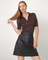 Jigsaw Leather Patch Pocket Mini Skirt - Black