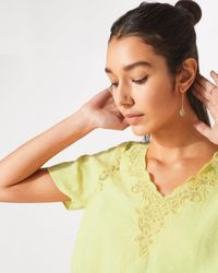Jigsaw - Floral Embroidered Linen Top - Lyst