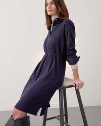 Jigsaw Cotton Silk Shirt Dress - Blue
