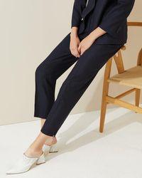 Jigsaw Melange Flannel Portofino Trousers - Blue