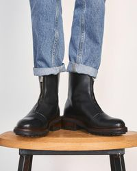 Jigsaw Sawyer Zip Front Boot Leather - Black