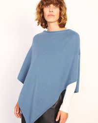 Jigsaw Open Poncho Wool Cashmere - Blue