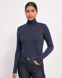 Jigsaw Lyocell Wool Jersey Polo - Blue