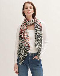 Jigsaw Leopard Meadow Wool Silk Scarf - Red