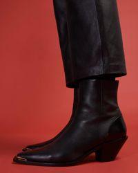 Jigsaw Wyatt Western Boot Leather - Black