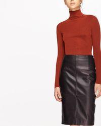 Jigsaw - Leather High Waisted Pencil Skirt - Lyst