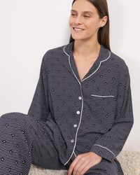 Jigsaw Geo Herringbone Pyjamas - Blue