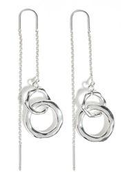 Jigsaw Callie Drop Hoop Earrings - Metallic