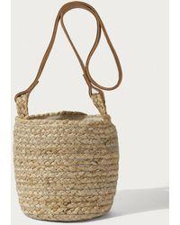 Jigsaw Leather Trim Bucket Bag - Natural