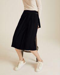 Jigsaw Flecked Tailoring Pencil Skirt Womens New Blue Navy
