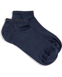 Jigsaw Indie Lurex Tip Trainer Sock - Blue