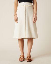 Jigsaw Basket Tweed Midi Skirt - Natural