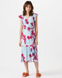 Jigsaw - Silk Cyclamen Print Wrap Dress - Lyst