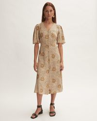 Jigsaw Woodland Floral Midi Dress - Natural