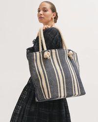 Jigsaw Rope Handle Cotton Beach Bag - Blue