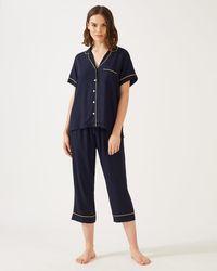 Jigsaw Vivian Modal Cropped Pyjamas - Blue
