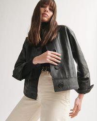 Jigsaw Cropped Leather Jacket - Black