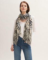 Jigsaw Leopard Meadow Wool Silk Scarf - Multicolour
