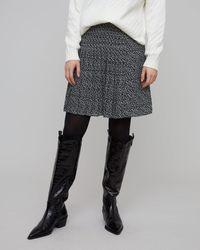 Jigsaw Stamp Dot Pleated Skirt - Blue