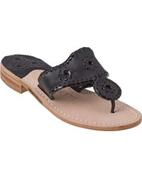 Jack Rogers - Palm Beach Thong Sandal Black Leather - Lyst