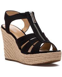 MICHAEL Michael Kors Women's Berkley Woven Espadrille Wedge Sandals - Black