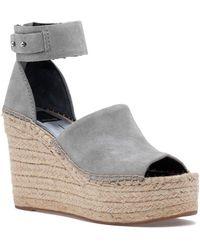 Dolce Vita Straw Wedge Sandal Smoke Suede - Gray
